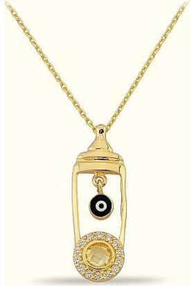 Golden Silver World 14 Ayar Altın Nazar Boncuk Kolye