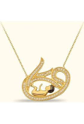 Golden Silver World 14 Ayar Altın Vav Desenli Kolye