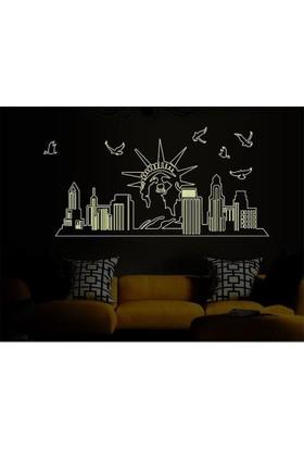 Karanlıkta Parlayan Fosforlu New York Özgürlük Heykeli Ev Dekorasyonu PVC Duvar Sticker Dekor