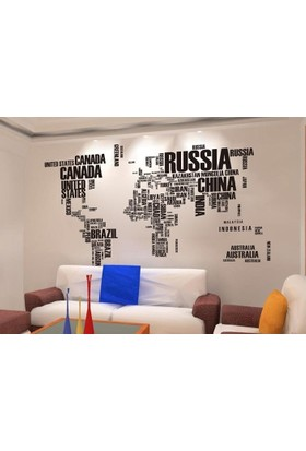 Dünya Haritası Atlas Ülke İsimlerinden Oluşan XL PVC Duvar Sticker Ev Dekorasyonu