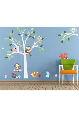 Çocuk Odası Dekorasyonu Duvar Dekoru Orman Hayvanları ve Ağaç PVC Duvar Sticker