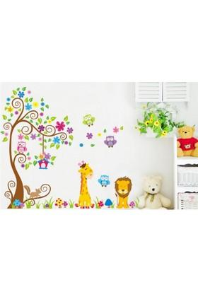Çocuk Odası Dekorasyonu XL Dev Boyutlu Renkli Orman Hayvanları Kendinden Yapışkanlı PVC Duvar Sticker