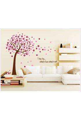 Pembe Çiçekli Ağaç Ev Dekorasyonu Kendinden Yapışkanlı PVC Duvar Sticker Hediyelik Duvar Dekoru