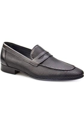 Cabani Lazerli Klasik Erkek Ayakkabı Siyah Analin Deri