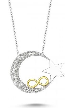 Byeler Sonsuza Kadar Ay Yıldız Kolye 925 Ayar Gümüş