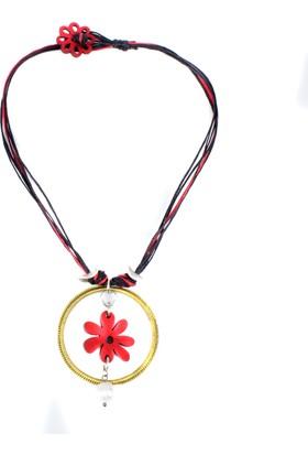Dünyatakıları Masthev Kırmızı Çiçek İpli Kadın Kolye