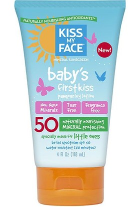 Kiss My Face Baby's First Kiss SPF 50 Mineralli Bebek Güneş Kremi (Glutensiz) 118 ml