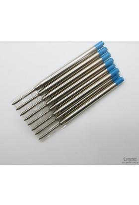 Parker Tipi Yedek Mavi 8'li Paket - Basmalı Mekanizmalı Kalem Ucu