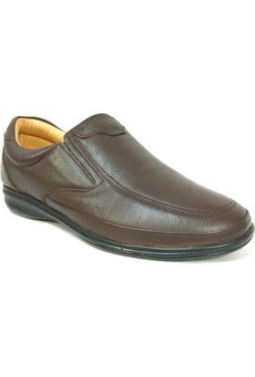 Fancy 402 Kahverengi %100 Deri Bağcıksız Diyabetik Anatomik Ayakkabı