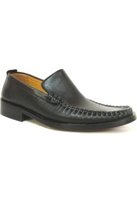 Meico Siyah Bağcıksız Kösele Erkek Ayakkabı