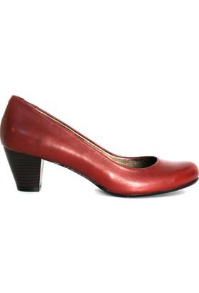 Akl Shoes Bordo Deri Alçak Stiletto