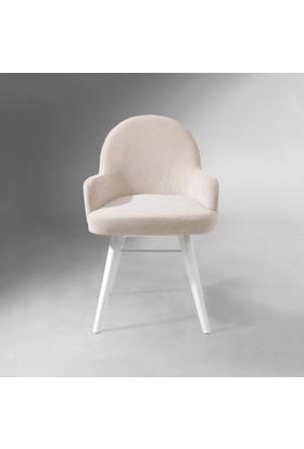 Vilinze Atlas Sandalye, 2 Adet , Beyaz Kumaş, Beyaz Ahşap Ayak