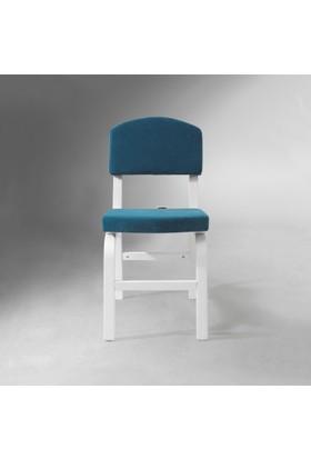 Vilinze Ege Sandalye, 2 Adet , Mavi Kumaş, Beyaz Ahşap Ayak