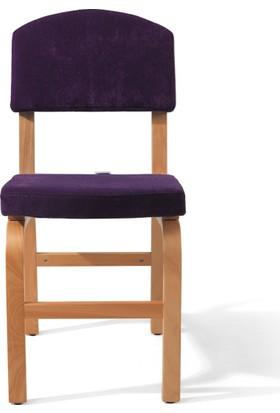 Vilinze Ege Sandalye, 2 Adet , Mor Kumaş, Natürel Ahşap Ayak