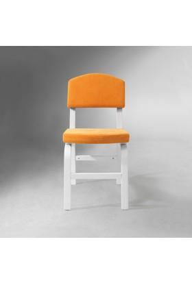 Vilinze Ege Sandalye, 2 Adet , Sarı Kumaş, Beyaz Ahşap Ayak