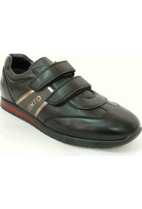 Lento 341 Siyah %100 Deri Cırtlı Çocuk Ayakkabısı