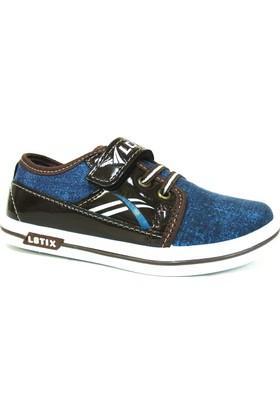 Lotix Kahve Lacivert Cırtlı Çocuk Ayakkabı