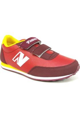 Timer 1100 Bordo Sarı Cırtlı Çocuk Spor Ayakkabı