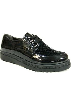 Merry Pace 341301 Siyah Rugan Bağcıklı Bayan Ayakkabı