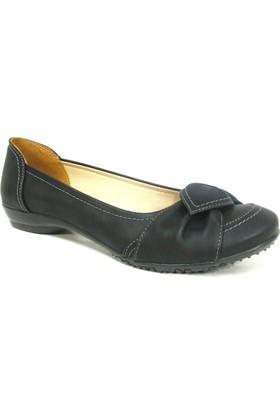 Fogs Siyah Fiyonklu Bayan Babet Ayakkabı