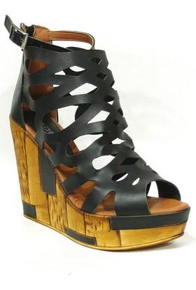 Novita 700 Siyah Dolgu Platform Topuk Bayan Ayakkabı