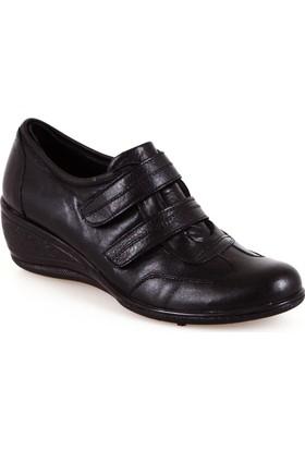 Projack Siyah Cırtlı Dolgu Topuk Bayan Ayakkabı
