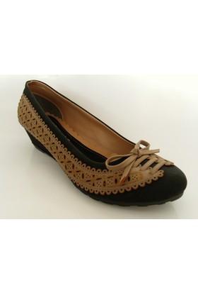 Bianca Siyah Camel Dolgu Topuk Ayakkabı