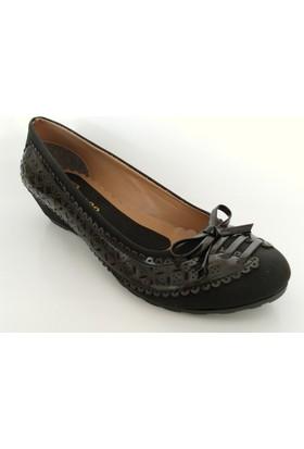 Bianca Siyah Deri Rugan Dolgu Topuk Ayakkabı