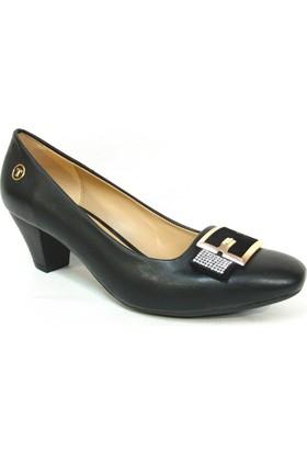 Topuz 226 Siyah Deri Topuklu Bayan Ayakkabı