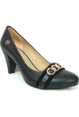 Topuz 275 Siyah Deri Topuklu Bayan Ayakkabı