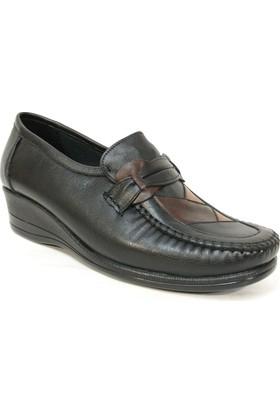 Filik 105 Siyah Kahve %100 Deri Ortopedik Comfort Bayan Ayakkabı