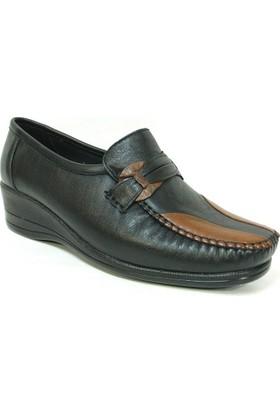 Filik 115 Siyah Kahve %100 Deri Ortopedik Comfort Bayan Ayakkabı