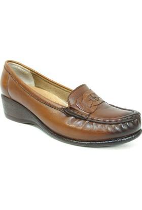 Filik 127 Kahverengi %100 Deri Ortopedik Comfort Bayan Ayakkabı