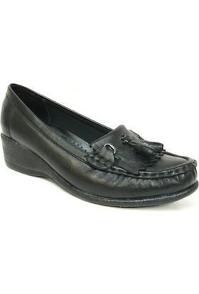 Filik 129 Siyah %100 Deri Ortopedik Comfort Bayan Ayakkabı