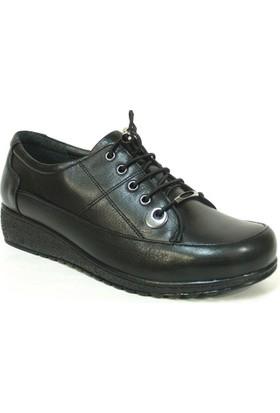 Fierro 1233 Siyah %100 Deri Ortopedik Comfort Bayan Ayakkabı