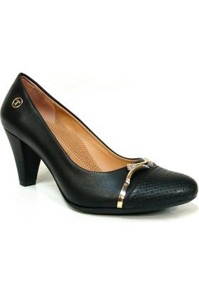 Topuz 045 Siyah Deri Topuklu Bayan Ayakkabı