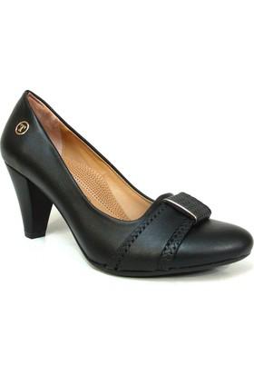 Topuz 056 Siyah Deri Topuklu Bayan Ayakkabı