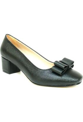Zenay 1403 1 Siyah Deri Topuklu Bayan Ayakkabı