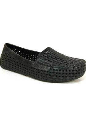 Muya 90476 Siyah Delikli Deniz Ayakkabısı Bayan Babet