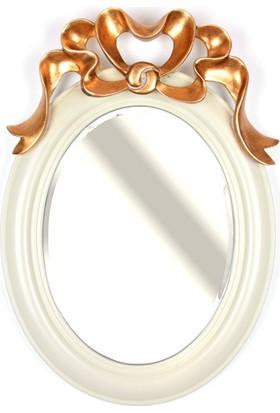 Lucky Art Krem Gold İşlemeli Ayna