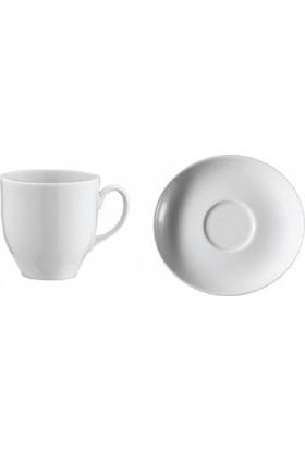 İkram Dünyası Kütahya Porselen Oval Serisi Kahve Fincan Tabaklı 6'Lı