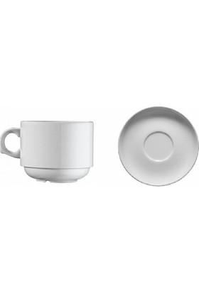 Kütahya Porselen 12 Parça 6 Kişilik Ent Otel Serisi Kahve Fincanı Tabaklı Dekorsuz 6lı