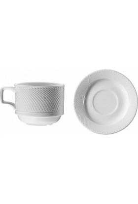 İkram Dünyası Kütahya Porselen Kahve Fincanı Tabaklı 6'Lı