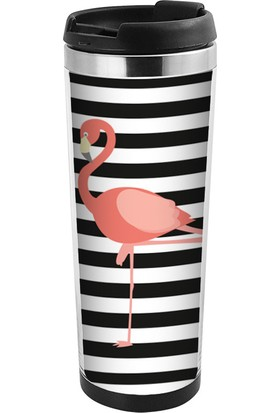 Allmug İçi Çelik Renkli Termos - Flamingo