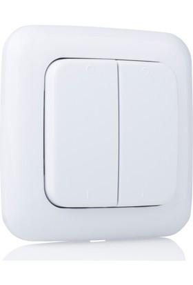 Smartwares Akıllı Ev İç Mekan Kablosuz Pilli Çift Duvar Anahtarı Beyaz-Sinyal İletici 10.037.18