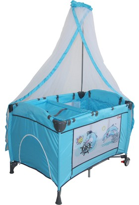 Crest Cr-208 Oyun Parkı - Park Yatak Tek Tüllü Mavi