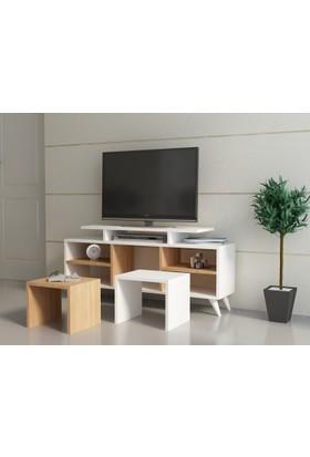 Kutay Tv Ünitesi Beyaz-Teak