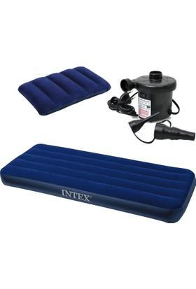 İntex Tek Kişilik Şişme Yatak / 220V Elektrikli Pompa+Yastık