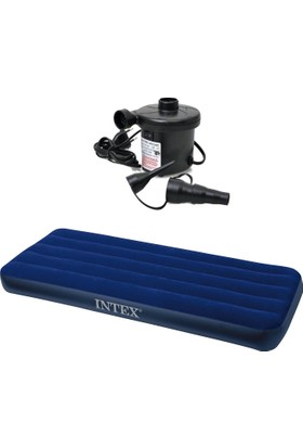 İntex Tek Kişilik Şişme Yatak / 220V Elektrikli Şişirme Pompalı