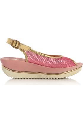 EsMODA Cc-0075 Fuşya Altın Kadın Sandalet